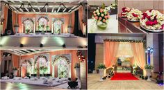 """""""Take a look at this elegant and royal looking Nikaah Ceremony décor we recently did at one of our venues. Peach & White fabric with Rose & Mogra flowers gave a created a perfect landscape for this Nikaah Ceremony. Ceremony Decorations, Table Decorations, Wedding Planners, Bridesmaid Dresses, Wedding Dresses, White Fabrics, Peach, Landscape, Elegant"""