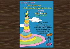 Dr. Seuss Baby Shower Invitation Oh the Places by KansasCardstock