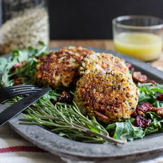Rosemary Sweet Potato Quinoa Patties with Lemon Dressing, created by Ashley at EdiblePerspective.com for Ancient Harvest