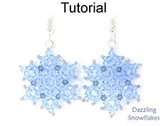 """Dazzling Snowflakes Earrings & Necklace PDF Beading Pattern #20796 Sparkle and glisten this winter with these """"Dazzling Snowflakes"""" that you can whip up into a gorgeous pair of earrings and/or a necklace. These super sparkly snowflakes measure just under 1¼"""" square, when made up in 3mm crystals - making them the perfect size to accentuate your winter wardrobe, and are only slightly taller and narrower if you make them up in equally lovely 3mm round fire polished beads. Either way ..."""