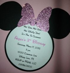 Minnie Mouse Invitations by mydaughterswedding on Etsy, $1.75