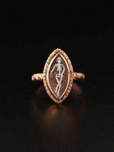 Genuine Georgian memento mori skull skeleton shell cameo navette ring