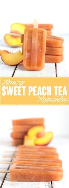 You have to try this boozy sweet peach tea popsicles. It's spiked, full of fresh peach flavor and sweet iced tea. Alcoholic Popsicles, Peach Popsicles, Fruit Popsicles, Homemade Popsicles, Alcoholic Candy, Gelato Homemade, Breakfast Popsicles, Homemade Sorbet, Homemade Breads