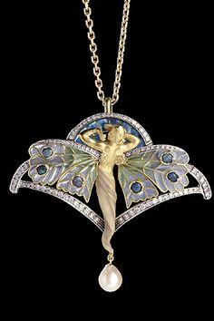 Art Nouveau- Modernismo catalán. Luis Masriera, colgante en oro esmaltado, diamantes y perlas