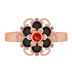 Lucia Costin Goldplated Sterling Silver Red/ Black Adjustable Ring