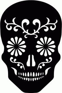 Silhouette Design Store - View Design sugar skull available for commercial use with license Sugar Skull Stencil, Sugar Skull Shirt, Sugar Skull Design, Silhouette Projects, Silhouette Design, Silhouette Cameo, Silhouette Images, Stencils, Stencil Art