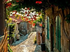 The village of Molyvos on the island of Lesvos in Greece