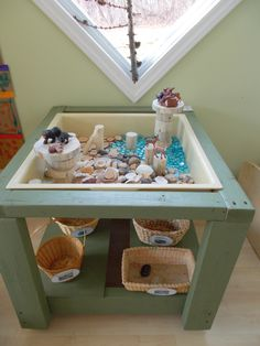 sensory table (made by my husband) with loose parts to inspire habitat settings (Get wood from mitre 10 and a plastic container from 2 dollar shop) Sensory Tubs, Sensory Boxes, Sensory Activities, Sensory Play, Toddler Activities, Sensory Diet, Reggio Emilia, Reggio Classroom, Preschool Classroom
