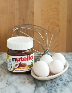 How To Make 2-Ingredient Nutella Brownies.I will use the cake version,using just 2 eggs,and 1/2 cup of almond flour!