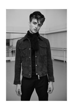 Model and ballet dancer Matthew Ball (Supa Model Management), takes to the pages of Man About Town with a brilliant new story. The British dancer poses for the… Male Ballet Dancers, Ballet Boys, Man About Town, Geneva, Persona, Leather Jacket, Poses, Stars, Denim