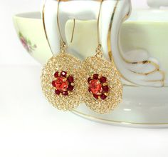 Gold filled  Earrings  Circle Wire crocheted by SigalsDesigns