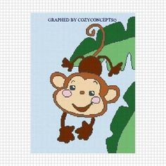 PLAYFUL BABY MONKEY JUNGLE TREE CROCHET PATTERN GRAPH EMAILED AFGHAN | CozyConcepts - Patterns on ArtFire