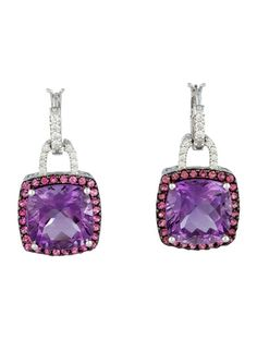 18.22ctw Amethyst and Gemstone Earrings