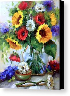 Free Falling Sunflowers Canvas Print by Nancy Medina. All canvas prints are professionally printed, assembled, and shipped within 3 - 4 business days and delivered ready-to-hang on your wall. Choose from multiple print sizes, border colors, and canvas materials.