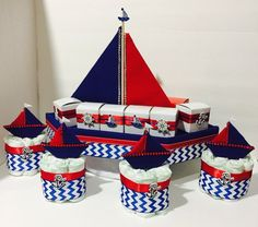 Nautical Mini  Diaper Cake and Boat Centerpiece