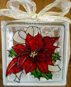 This is a flower project by Wendy Fahey, Poinsettia Glass Block E-Packet - Wendy Fahey. Could make these with clings from the Dollar tree Painted Glass Blocks, Decorative Glass Blocks, Lighted Glass Blocks, Painted Bottles, Glass Cube, Glass Boxes, Christmas Glass Blocks, Glass Block Crafts, Stone Crafts