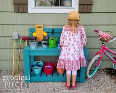 Backyard Upcycled Mud Bar Play Area by Larissa & JC of Prodigal Pieces | prodigalpieces.com #prodigalpieces #kids #play #diy #upcycled Sewing Machine Desk, Sewing Desk, Mud Bar, Pretend Kitchen, Reclaimed Furniture, Furniture Redo, Summer Rolls, Cool Diy Projects, How To Introduce Yourself