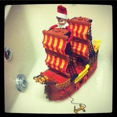 Carlos the pirate sailing the high seas in the bathtub