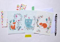 Cards sweet fox and owls size 4 x6 par mademoiselleyo sur Etsy