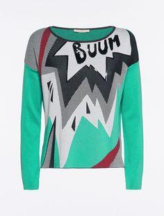 Sequinned jacquard jumper