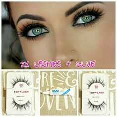 2X 100% Real 3D Mink Lashes + Duo Glue Top*Lash  2 Sets of 100% Real Mink Natural Eyelashes, includes 1 full tube of Duo Glue  Very soft lashes, just like human eyelashes   Reusable up to 25 times depending on use and care   Dark glue available upon request   Comes brand new in plastic package. I wrap everything in bubblewrap as well as use a bubble mailer.  Fast shipping :)  Tags: Kylie Kendall Kim Kardashian 3D Fiber Lash Hollywood Glam Selena Makeup False Eyelashes
