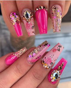 """Nails done using in """"popstar!"""" 🌸🔥💕 DM me to get the full collection at a discounted price! 135 beautiful colors including our newest glow and neons 🔥 AND you'll also get a free LED light or E-File, color swatches, and dipping liquids! Pink Bling Nails, Bling Acrylic Nails, Fancy Nails, Gel Nails, Nailart, Young Nails, Coffin Nails Long, Fire Nails, Christmas Nail Art"""