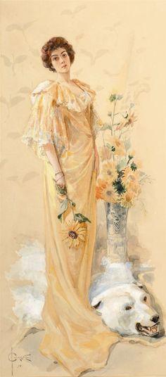 Сергей Соломко - Элегантная дама с подсолнухами, 1899, акварель