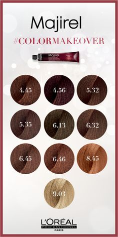 Majirel french brown hair color is permanent and allows you to create a wide variety of brunette hair color shades Loreal Hair Color Brown, Loreal Hair Color Chart, Brown Hair Color Shades, Brown Hair Colors, Salon Hair Color, Hair Color Auburn, Hair Colour, Korean Hair Color, Girl Hair Colors