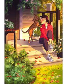 Girl Illustration Art Sketches Artists New Ideas Art And Illustration, Website Illustration, Art Illustrations, Digital Art Girl, Girl And Dog, Dog Art, Cartoon Art, Cute Cartoon Characters, Cute Drawings