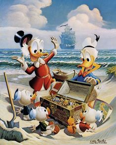 Oil paintings by Carl Barks (1901-2000). Though Barks, creator of Duckburg, Scrooge McDuck, Gyro Gearloose, the Beagle Boys, and many others, turned to painting late in life, the success of his works gave him something of a second artistic career--much to the Disney Company's dismay sometimes...