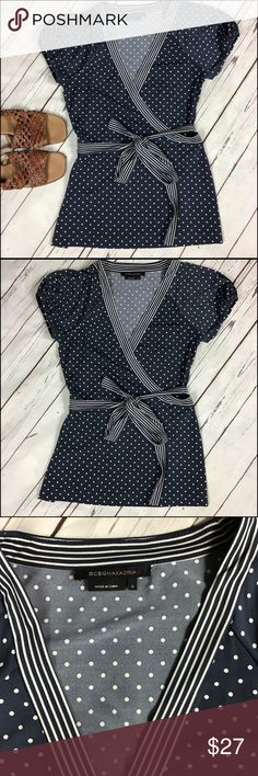 BCBG Max Azria Polka Dot Tie Front Top Small BCBG Maz Azaria Small Blue/White dots tie front top Excellent condition BCBGMaxAzria Tops Blouses