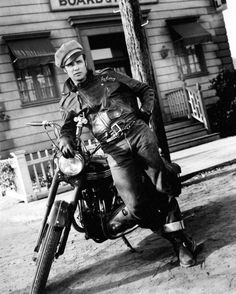 Brando in a Schott Perfecto leather jacket. From the film The Wild One,1953. #menswear #style #schottperfecto