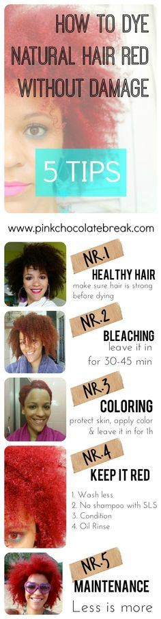 How To Color Natural Hair Red without Damage - pinkchocolatebreak.com