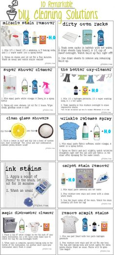 Here are some very clever DIY Cleaning Ideas that may just get you out of a messy situation. Some of these cleaning ideas are new experiments but some have been used for years. Learn how you can clean your shower, remove carpet stains, create your own wrinkle release solution and spray and best of all get rid of armpit stains. The best news for these DIY cleaning ideas is they are cheaper than buying from the store and work even better.