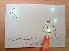 Stars twinkle in the sky when you slide your finger across the waves. The twinkling effect is from a slide switch. When you press at certain points, you connect LEDs to the battery. The card is thin and and light, and fits in a regular envelope! To make this card, you will need: LED Circuit...