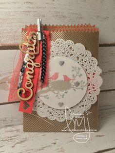 Love Birds | Stampin' Up! | World of Dreams | Stampin Friends April Blog Hop #SFAprHop #literallymyjoy #giftcardholder #congrats #wedding #newparents #minitreatbag #watermelonwonder #shine #sparkle #2016OccasionsCatalog