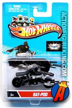 Hot Wheels Batman figure riding Bat-Pod 1/64 silver die-cast vehicle from Hot Wheels