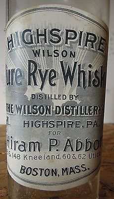 Highspire Wilson Pure Rye - Pre Prohibition Whiskey Bottle With Paper Label