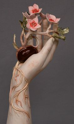 pink - hand with flowers and roots - Seedling -Renee Laferriere Cinderhouse - sculpture Kate Macdowell, Plaster Hands, Hand Kunst, The Wicked The Divine, Hand Sculpture, Gcse Art, Hand Art, Installation Art, Ceramic Art