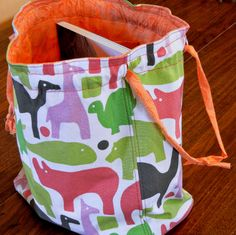 Drawstring bag tutorial. Great for knitting projects on the go