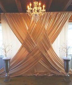 40 DIY wedding decor ideas - beautiful wedding decorations to make yourself - Hochzeitsdeko Ideen - Wedding Ceremony Backdrop, Wedding Venues, Wedding Ideas, Indoor Ceremony, Wedding Backdrops, Wedding Draping, Curtain Backdrop Wedding, Party Backdrops, Backdrop Photobooth