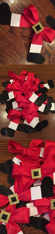 Santa Belt Ribbons (these are Cheer hairbows but you can use them on gifts, wreaths, Christmas Trees...etc) source: https://www.etsy.com/listing/210199131/santa-claus-christmas-red-white-and