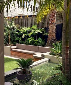 Steal these cheap and easy landscaping ideas for a beautiful backyard. Get our best landscaping ideas for your backyard and front yard, including landscaping design, garden ideas, flowers, and garden design. Sloped Backyard Landscaping, Backyard Seating, Garden Seating, Backyard Patio, Landscaping Ideas, Sloping Backyard, Landscaping Shrubs, Tropical Garden Design, Backyard Garden Design