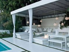 Cabana outdoor living Photos - White beach house interiors - Pictures of beach houses - beach house - Beach Home Decorating. Modern Pools, Mid Century House, Modern Pool House, House, Home, Beach House Decor, New Homes, Seating Area, Outdoor Seating Areas