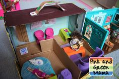 Cardboard Shoe Box Play House With Egg Carton Furniture - love this for when Taegan is older. And shoebox dioramas are a must. :)