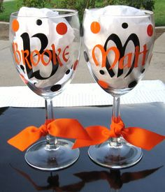 Cute wedding present monogrammed vinyl decal glasses