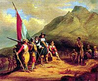 The Landing of Jan Van Riebeeck April 1850 by Charles Bell Art Print on Canvas Magnolia Box Size: Extra Large Marcus Garvey, Francisco Goya, Pretoria, Belle Epoque, Painting Frames, Painting Prints, Bastet, South African Wine, Bell Art