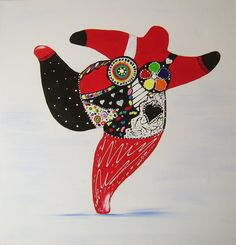 Acrylmalerei - Nana frei gestaltet gemalt Niki de Saint Phalle - ein Designerstück von A-Winkler bei DaWanda http://de.dawanda.com/shop/A-Winkler
