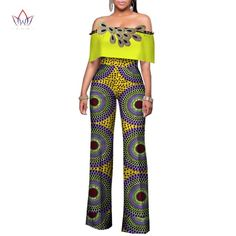 Africa Women Rompers Womens Jumpsuit, African Off Shoulder Long Pants for Women High Waist Bodysuit African American Fashion, African Print Fashion, Africa Fashion, African Attire, African Wear, African Dress, African Style, Rompers Women, Jumpsuits For Women