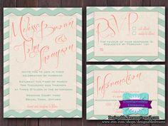 Chevron Wedding Invitation Set  - PRINTABLE (Mint & Coral). $20.00, via Etsy.